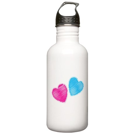 Two hearts blue and pink Sports Water Bottle