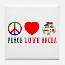 Peace Love Aruba Tile Coaster
