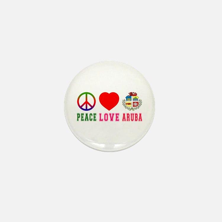Peace Love Aruba Mini Button