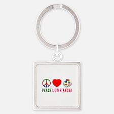 Peace Love Aruba Square Keychain