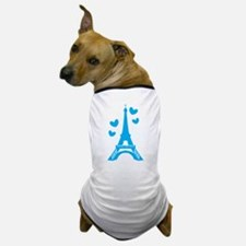 Blue Eiffel Tower Paris with love hearts Dog T-Shi