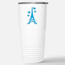 Blue Eiffel Tower Paris with love hearts Travel Mug