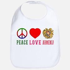 Peace Love Armenia Bib