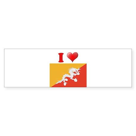 I love Bhutan Flag Bumper Sticker