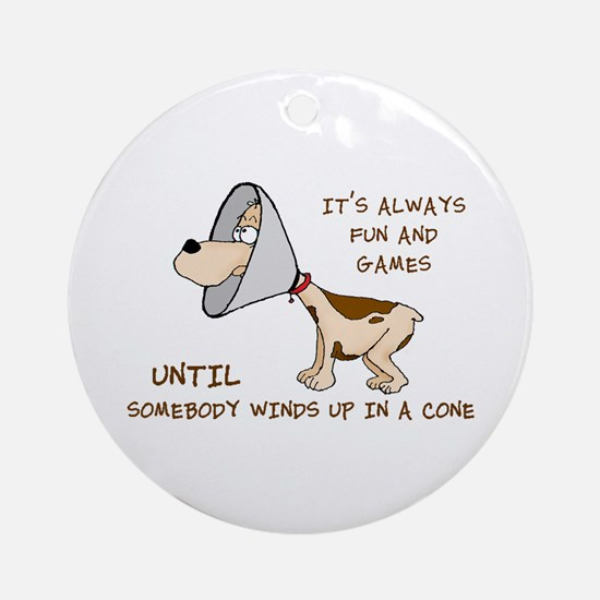 Dog Cone Larry Font 2.Png Ornament (Round)
