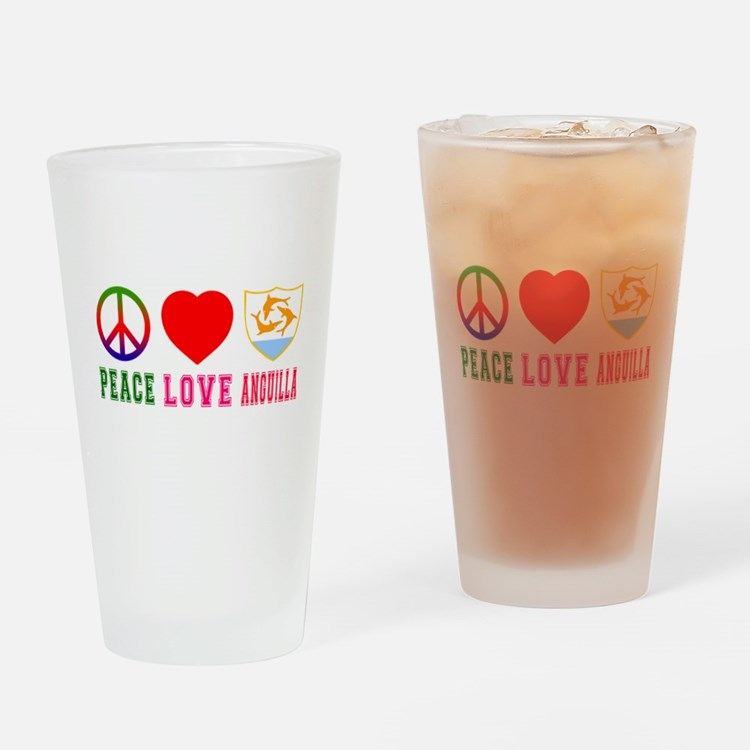 Peace Love Anguilla Drinking Glass