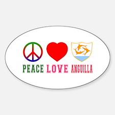 Peace Love Anguilla Sticker (Oval)