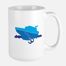 Blue Cruise Boat on the water Mugs