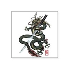 "Dragon Katana Square Sticker 3"" x 3"""