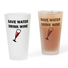 Save Water Drink Wine Drinking Glass