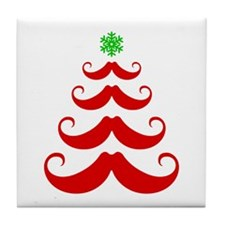 Merry Mustache! Red Tile Coaster
