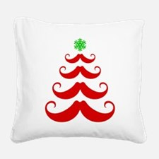 Merry Mustache! Red Square Canvas Pillow