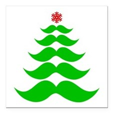 "Merry Mustache! Green Square Car Magnet 3"" x 3"""