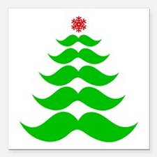 """Merry Mustache! Green Square Car Magnet 3"""" x 3"""""""