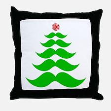 Merry Mustache! Green Throw Pillow