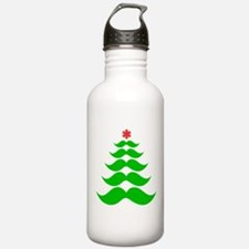 Merry Mustache! Green Water Bottle