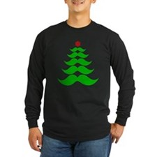Merry Mustache! Green Long Sleeve T-Shirt