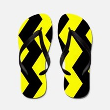 Black And Yellow Horizontal Chevron Flip Flops