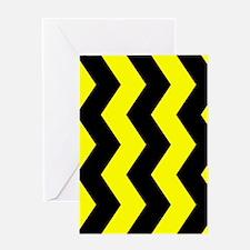 Black And Yellow Horizontal Chevron Greeting Cards