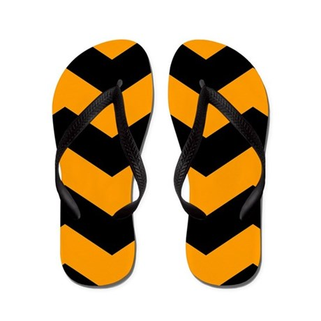 Black And Orange Chevron Flip Flops