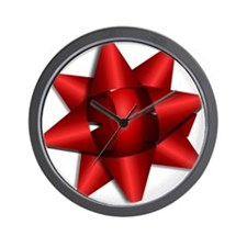 Red Christmas Present Bow Wall Clock