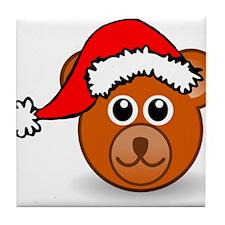 Christmas Bear Wearing Santa Hat Tile Coaster