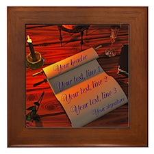 Personalizable handwritten letter Framed Tile