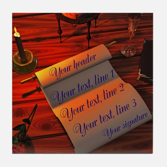 Personalizable handwritten letter Tile Coaster