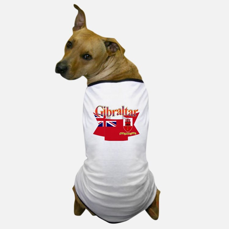 Gibraltar flag ribbon Dog T-Shirt