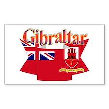 Gibraltar flag ribbon Rectangle Decal