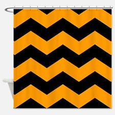 Black And Orange Chevron Shower Curtain