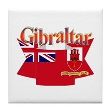 Gibraltar flag ribbon Tile Coaster