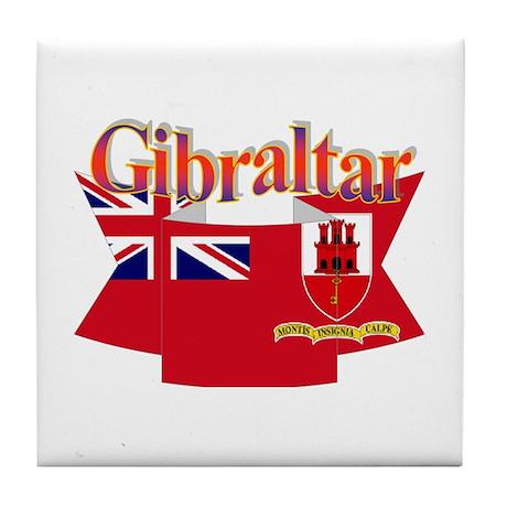 Gibraltar flag ribbon Tile Coaster
