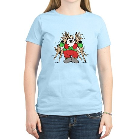 Christmas Santa Claus with Reindeer T-Shirt