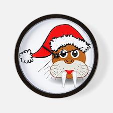 Christmas Walrus Wearing Santa Hat Wall Clock