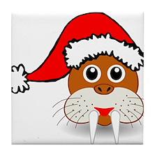 Christmas Walrus Wearing Santa Hat Tile Coaster