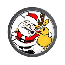 Christmas Santa Claus and Reindeer Wall Clock