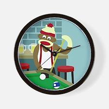 Sock Monkey Pool Billiards Player Wall Clock