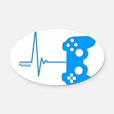 Gamer Heart Beat Oval Car Magnet