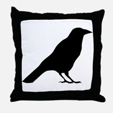 Crow Silhouette Throw Pillow