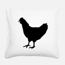 Chicken Silhouette Square Canvas Pillow
