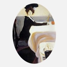 Vintage artwork: The Supper, paintin Oval Ornament