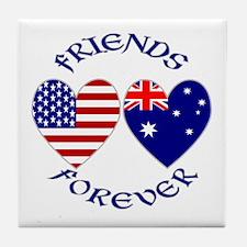 Australia USA Friends Tile Coaster