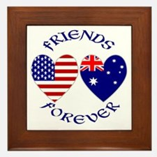 Australia USA Friends Framed Tile