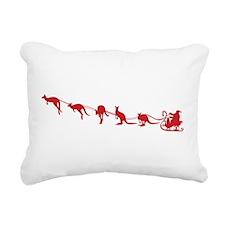 Kangaroo Santa Rectangular Canvas Pillow