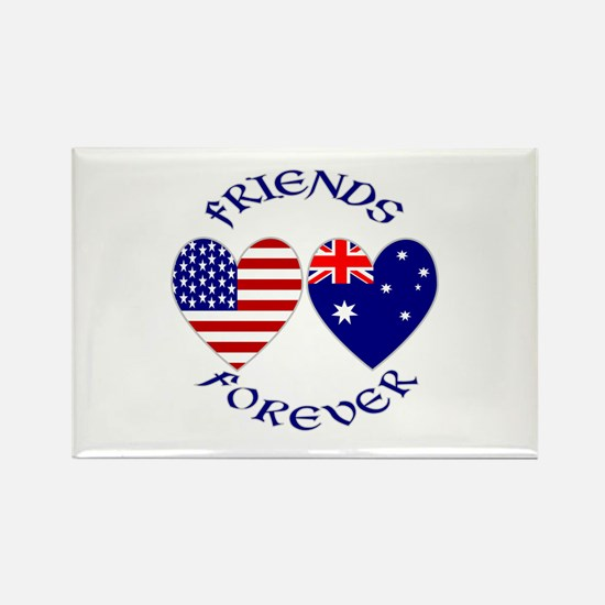 Australia USA Friends Rectangle Magnet