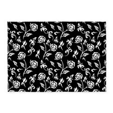 Vintage style black and whte floral pattern 5'x7'A