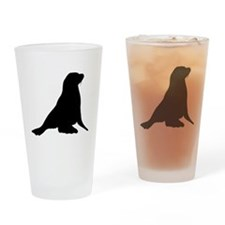 Sea Lion Silhouette Drinking Glass
