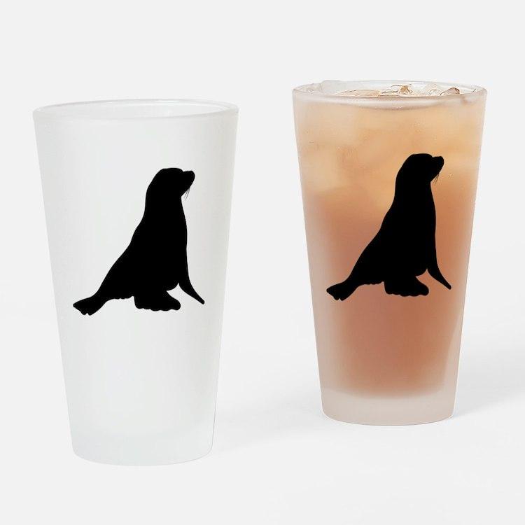 Sea Lion Silhouette Drinking Glass