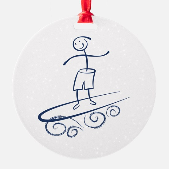 Stick Surfer Ornament